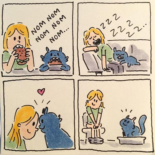 What a funny ! Cat lovers comic illustration